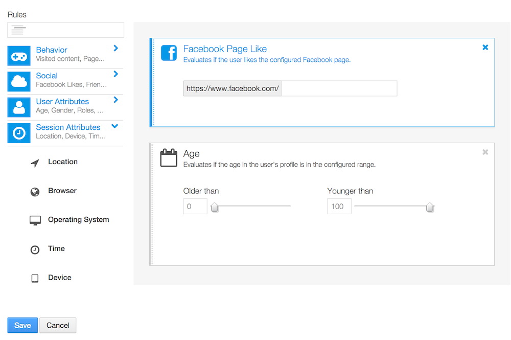 Figure 7.2: Drag a rule to the right to create a user segment.