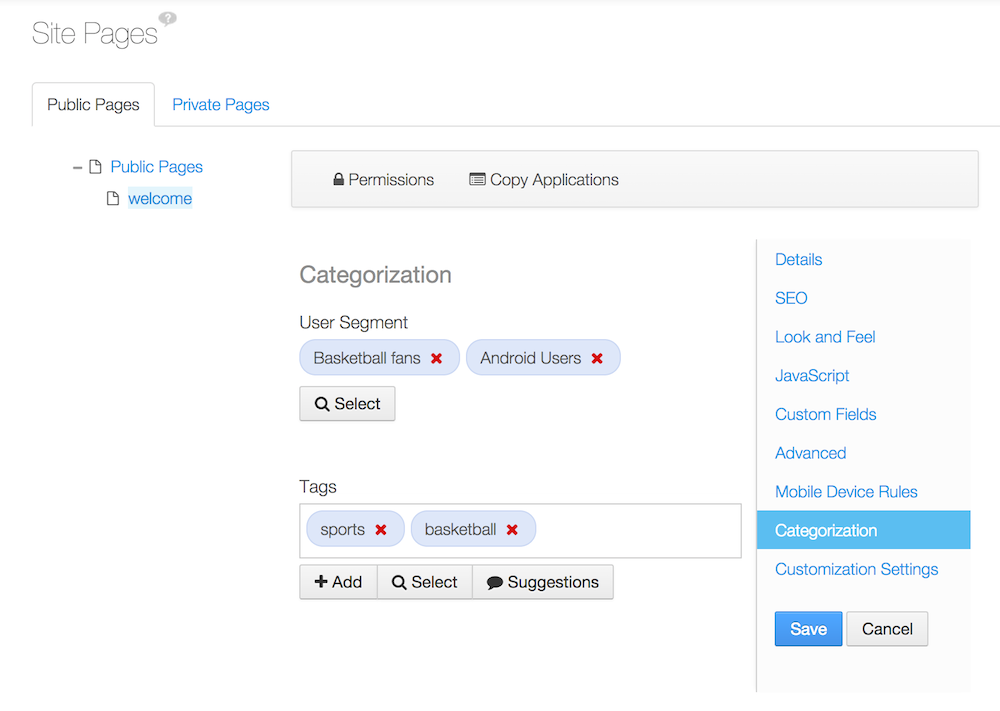 Figure 7.3: Pages and content can be categorized for user segments.