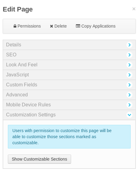 Figure 8.1: To enable page customizations, click on the Edit button at the left side of the page, expand the Customization Settings area, and click on the Show Customizable Sections button.