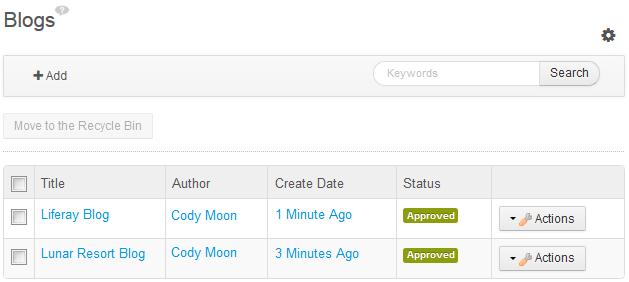 Figure 9.7: The Blogs Administrator portlet lets you delete large sets of blog entries.