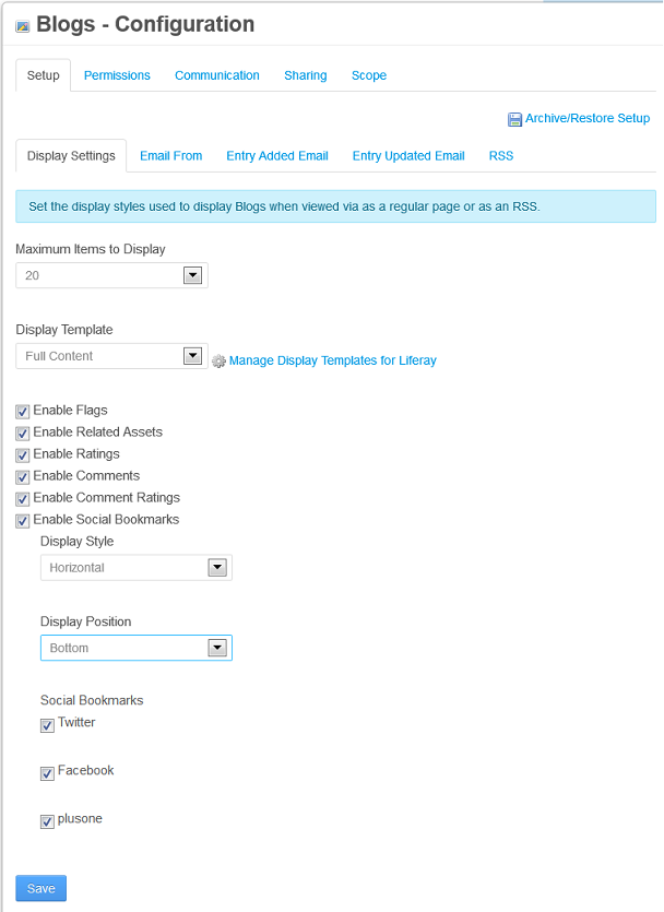 Figure 9.3: The Blogs portlets Configuration menu offers a plethora of display settings.