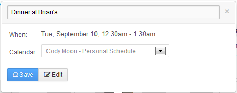 Figure 9.10: When you click anywhere on the calendar, youll see the event creation popup appear. Click Edit to specify details for your event.