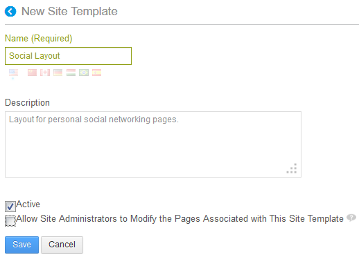 Figure 10.8: You can give your site template a custom name and description and also specify several configuration settings..