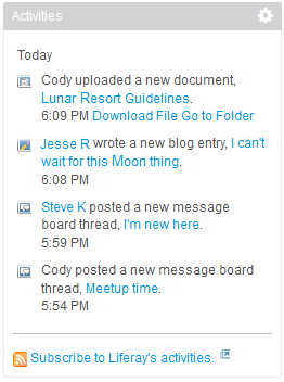 Figure 10.5: All of your site members activities are listed with brief descriptions and time stamps.