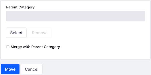 図3:カテゴリの移動フォームでは、カテゴリを移動およびマージできます。