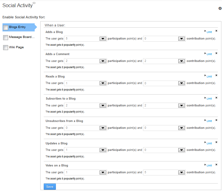 Figure 10.9: The Social Activity page of the Control Panel allows you to enable social activity for assets and specify points for participation and contributions.