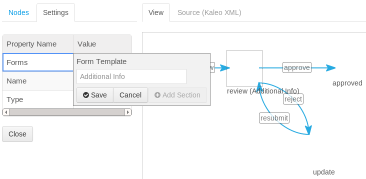 Figure 11.11: When creating or editing a Kaleo process, click Assign under Workflow Task Forms. Then click on a task, such as review, from the graphical view. Look for the Forms property in the Settings tab; you can use this property to assign a form template to a task.