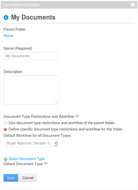 Figure 12.10: You can use the document type restrictions and workflow of the parent folder or you can define specific document type restrictions and workflow for this folder.