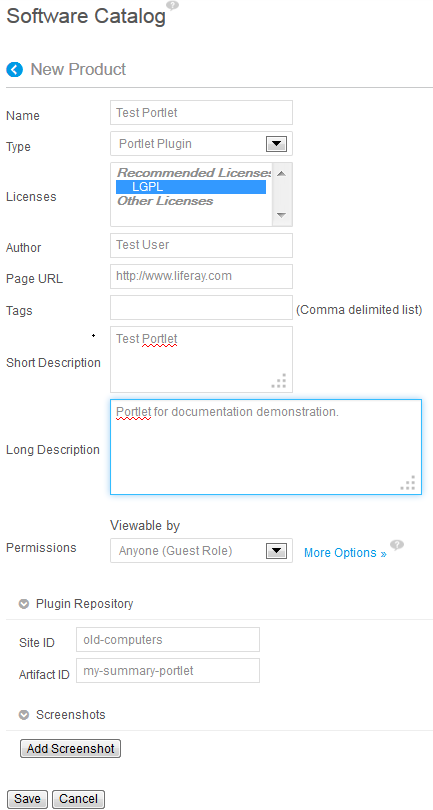 Figure 14.9: The New Product screen provides a recommended licenses setting for your product.
