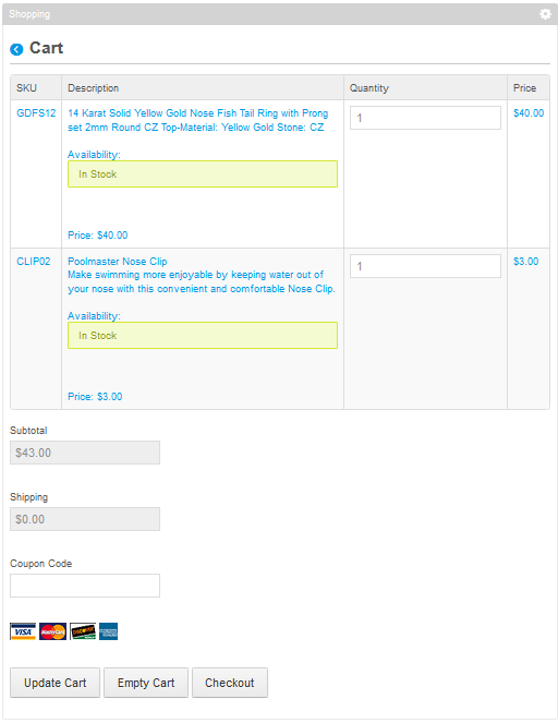 Figure 14.17: The shopping cart gives a preview of the items youd like to buy.