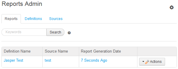 Figure 14.23: Use the Sources tab of the Reports Admin portlet to define data sources for report definitions. Use the Definitions tab to define report definitions, generate reports, and schedule reports for generation. Use the Reports tab to browse through and download generated reports.