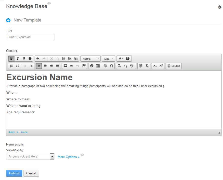 Figure 14.28: As an administrator, you can add a new template to your knowledge base from the Knowledge Base portlet.