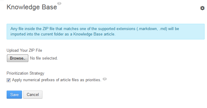 Figure 14.35: Selecting Add → Import in the Knowledge Base portlet brings up the interface for selecting a Zip file of Markdown source files and images to produce and update articles in your Knowledge Base.
