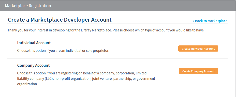 Figure 15.4: Click on the Become a Developer link in the menu on the left side of the Liferay Marketplace homepage to register a developers account, either as an individual or a company.