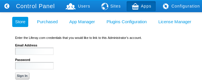 Figure 15.13: Before you can access Marketplace via the Control Panel you need to link your liferay.com credentials with your Liferay instances administrator account.