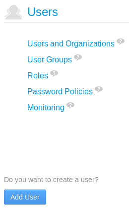 Figure 16.1: The Users section of the Control Panel allows portal administrators to manage users, organizations, user groups, and roles. It also allows administrators to monitor users live portal sessions if monitoring has been enabled for the portal.