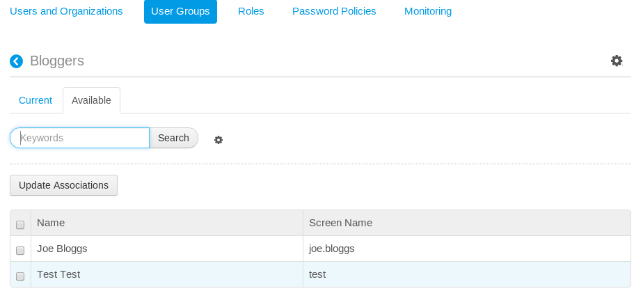 Figure 16.7: When assigning members to a user group, click on the Available tab to see a list of users able to be added to the user group.