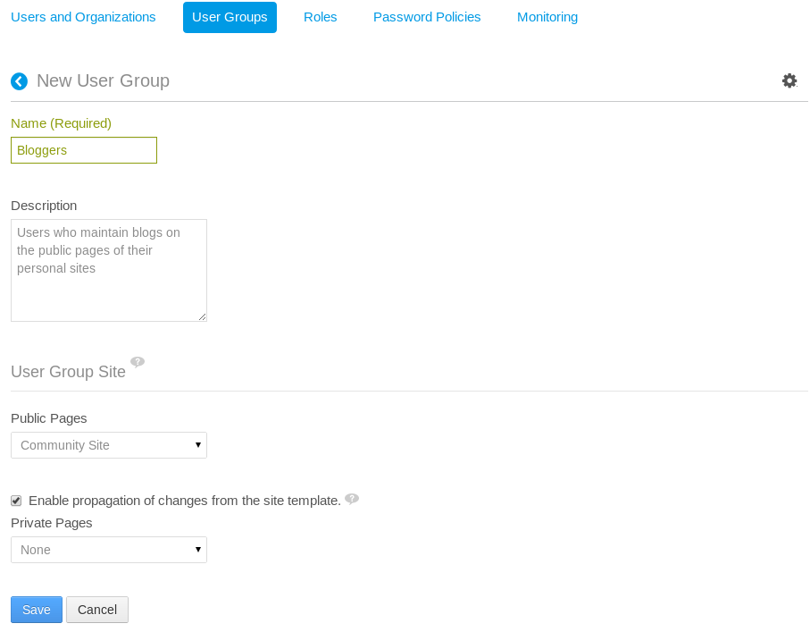 Figure 16.5: When creating a new user group, you can select a site template for the public or private pages of the user group site. If you dont select a site template at creation time, you can edit the user group later to add one.
