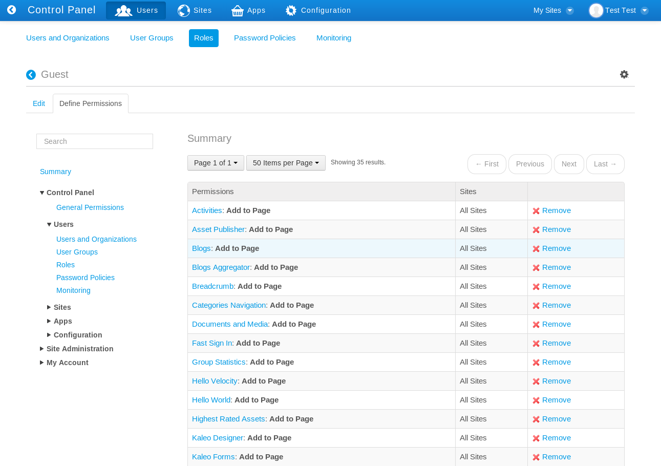 Figure 16.10: When defining permissions on a role, the Summary view provides a list of permissions that have already been defined for the role. The area on the left side of the screen lets you drill down through various categories of portal permissions.