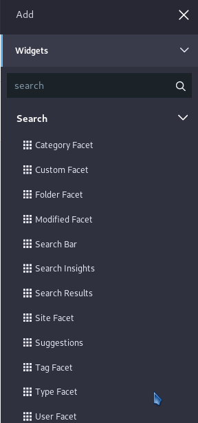 Figure 1: The search functionality is now distributed across several widgets.