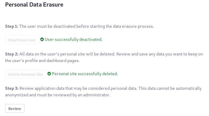 Figure 4: In the third data erasure step, review, delete, and/or anonymize the Users application data.