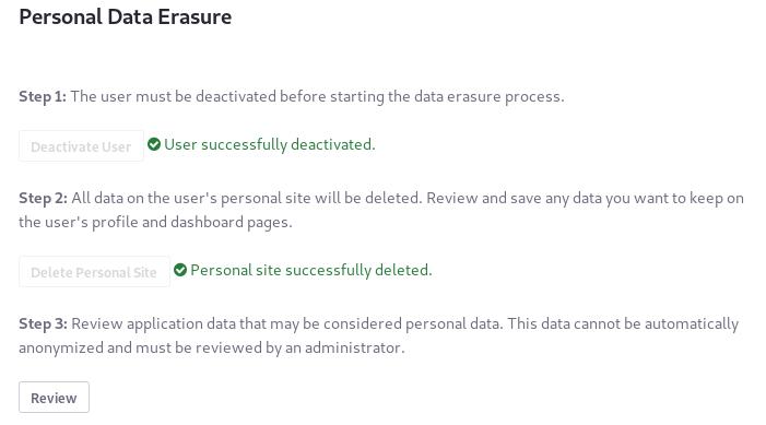 図4:3番目のデータ消去手順では、ユーザーのアプリケーションデータを確認、削除、または匿名化します。