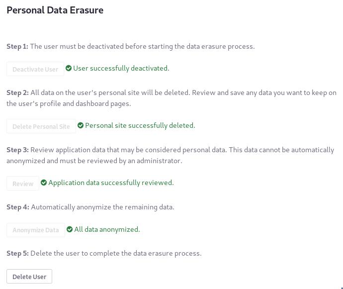 Figure 9: To finish the data erasure process, delete the User.
