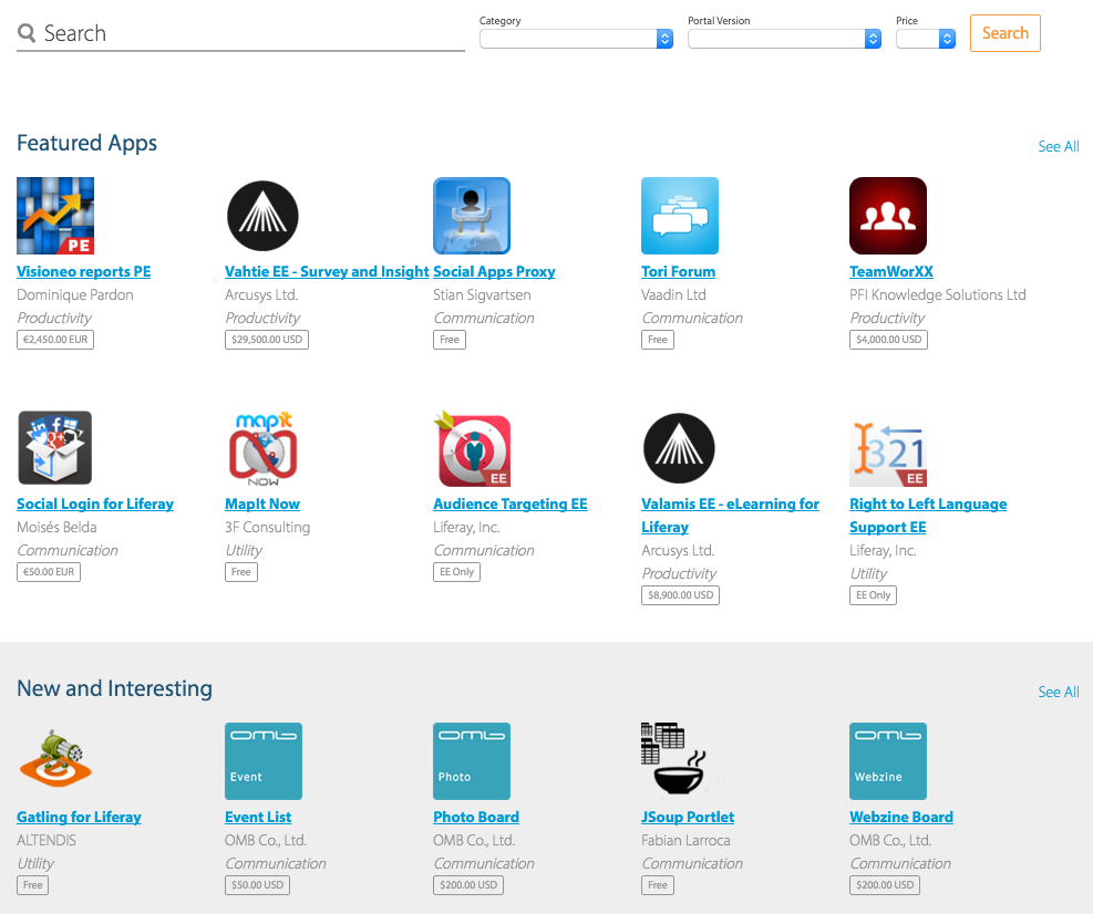 Figure 1: The Liferay Marketplace home page lets you browse and search for apps.