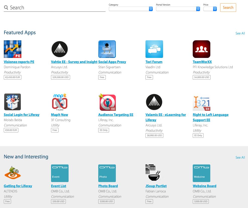 図1:Liferayマーケットプレースのホームページでは、アプリを閲覧および検索できます。