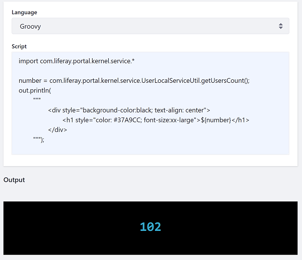 図1:スクリプトの出力にHTMLマークアップを埋め込むGroovyスクリプトを呼び出す例を次に示します。