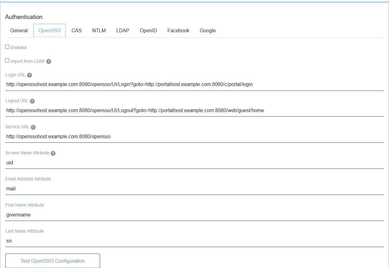 Figure 1: Liferay DXPs OpenSSO tab lets you configure OpanAM.