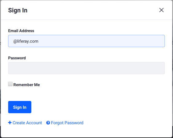 Figure 1: By default, the Sign In portlet allows users to log in, create a new account, or request a password reset.
