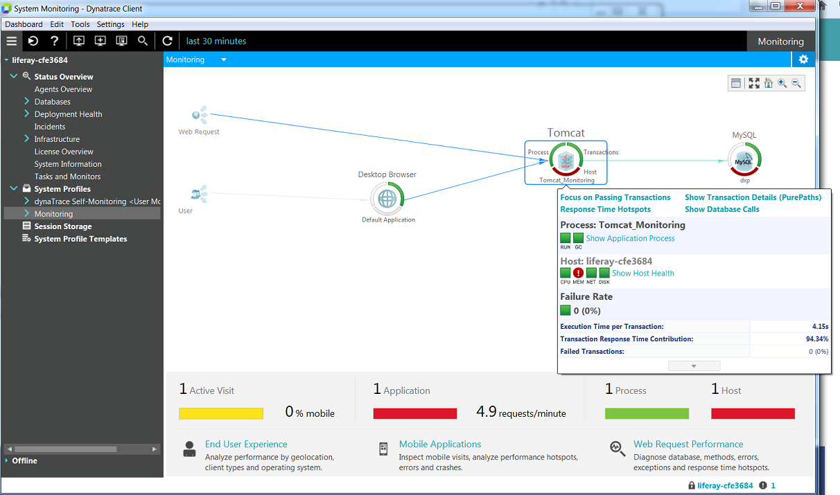 Figure 1: The top level interface lets you select a component to analyze.
