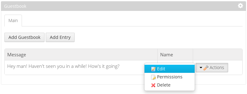 Figure 1: Youll add actions for managing guestbook entries in this learning path.