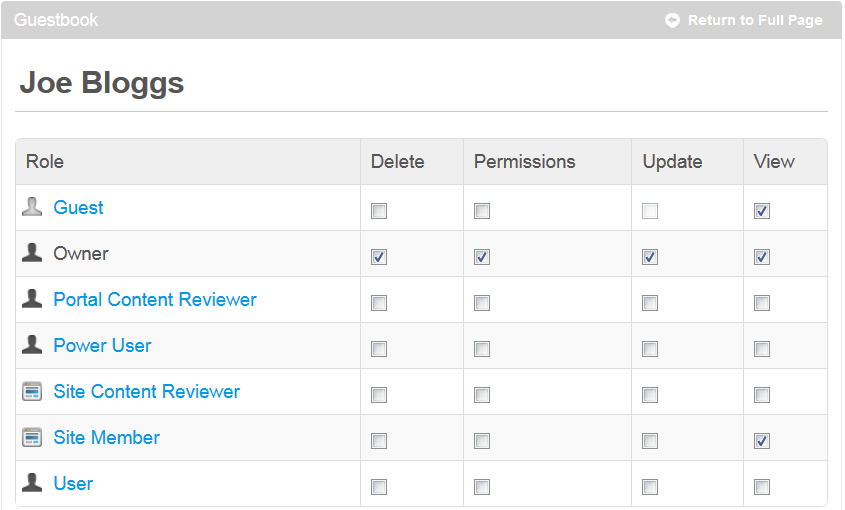 Figure 1: The permissions URL generates the Permissions menu for the guestbook.