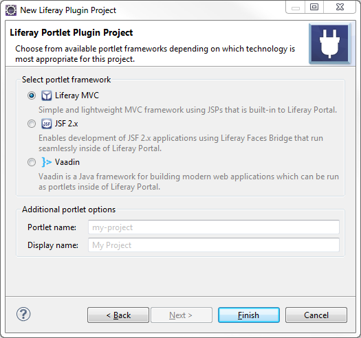 Figure 6: When creating a portlet, step two of the New Project Wizard lets you select a portlet framework to use in the project.