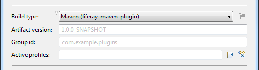Figure 3: When you select Maven as the build type, you must enter an artifact version and group ID, and you can specify active profiles.