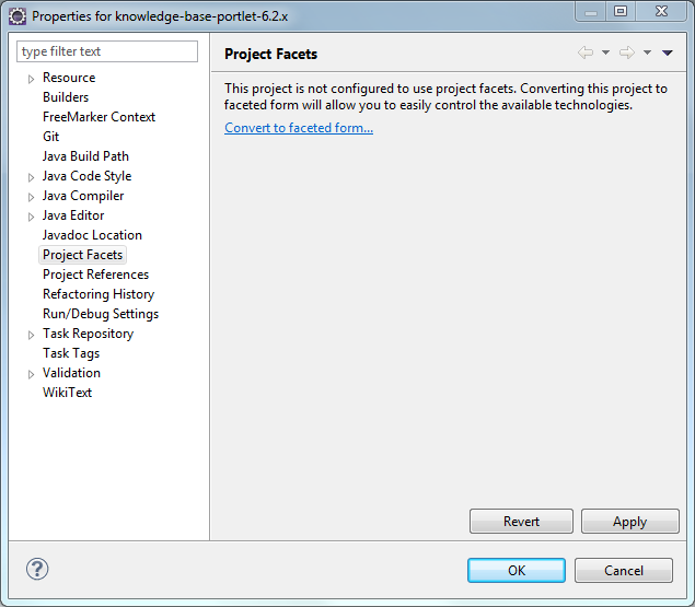 Figure 1: Its easy to enable your project to use facets in Liferay IDE.