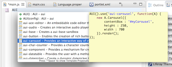 Figure 3: IDE gives you access to AUI code templates in the JS and JSP editors.