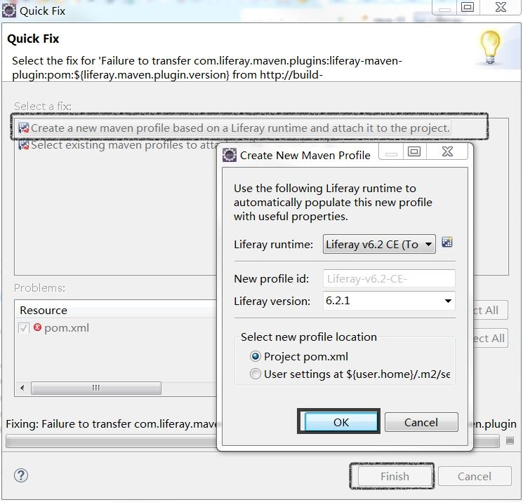 Figure 3: Liferay IDEs Quick Fix feature lets you create a new Maven profile based on a Liferay runtime environment.
