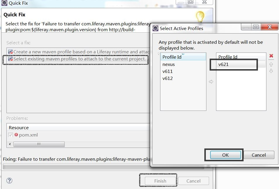Figure 4: Liferay IDEs Quick Fix feature also lets you select any existing active Maven profile to attach to your project.