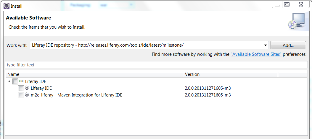 Figure 2: You can install the m2e-liferay plugin by searching for software on Liferay IDEs repository.