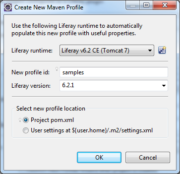Figure 3: You can create new profiles in the New Plugin Project wizard.