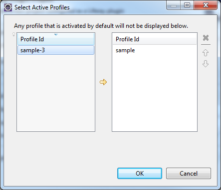 Figure 2: Liferay IDE lets you select active profiles to use with your Maven plugin projects.