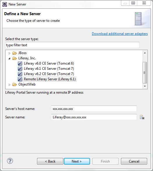 Figure 2: Configure the remote Liferay servers information.