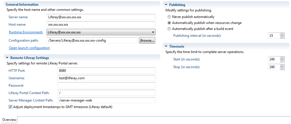 Figure 3: The remote servers configuration editor lets you modify remote settings, specify how resources are published, and set time limits for server operations.