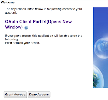 Figure 1: When your portlet is granted access to the service provider, it acquires the access token and access secret.