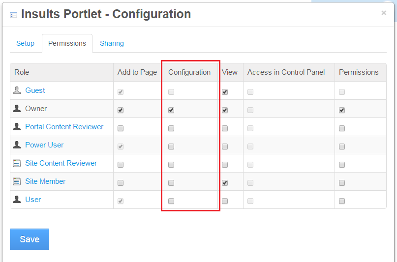 Figure 3: The Permissions tab of the portlets Configuration menu.