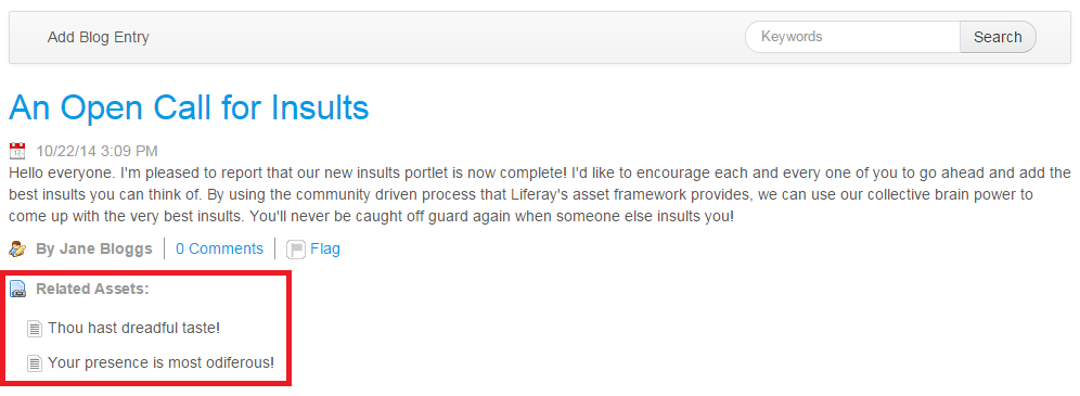 Figure 1: You and your users can find it helpful to relate assets to entities, such as this blogs entry.