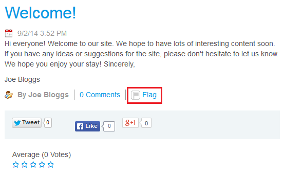 Figure 1: Flags for letting users mark objectionable content are enabled in the built in Blogs portlet